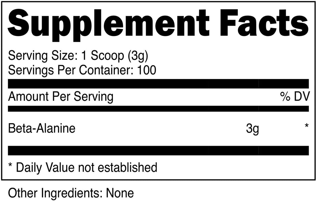 XPI Raw Beta Alanine Powder 300 Grams, 100 Servings - Made in The USA, Non-GMO
