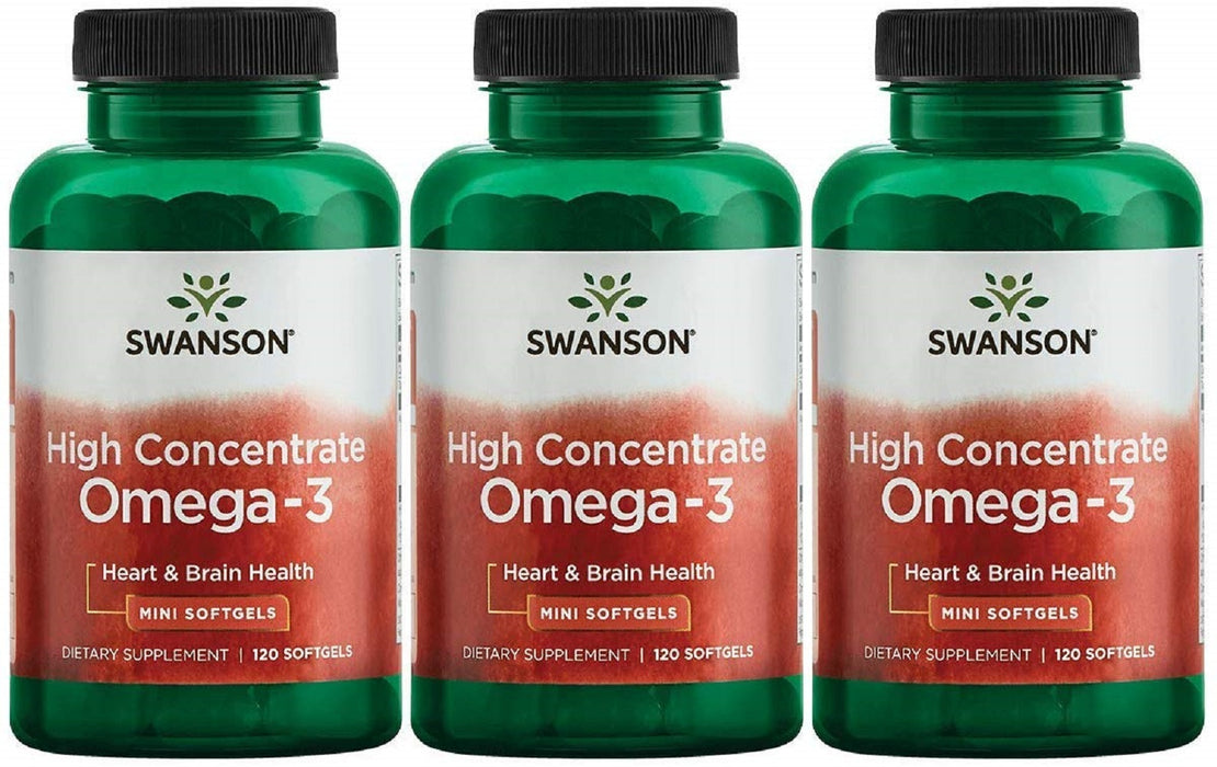 Swanson High Concentrate Omega-3 Fish Oil Essential Fatty 120 Softgels (3 Pack