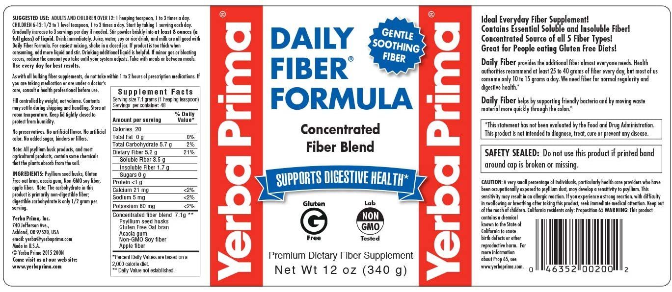 Yerba Prima Daily Fiber Formula Powder, 12 Ounce (Pack of 3)