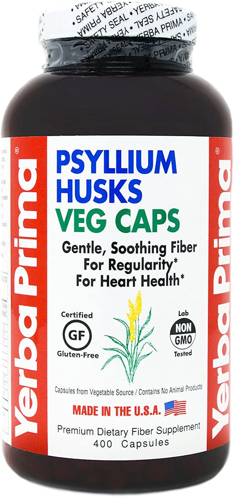 Yerba Prima Psyllium Husks Veg Caps, 400 Capsules (625mg) - Vegan, Non-GMO, Gluten Free, Colon Cleanser, Daily Fiber Supplement