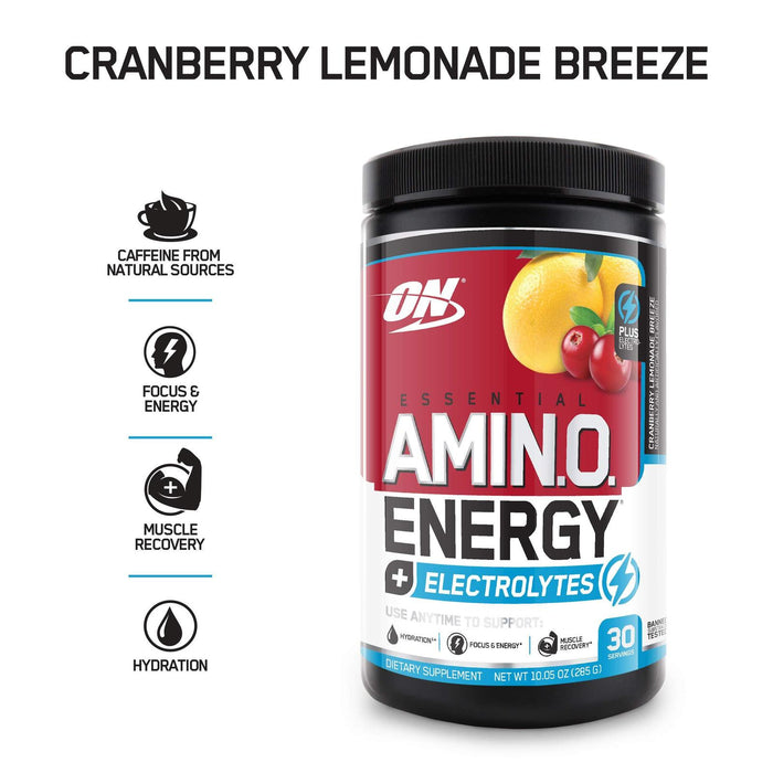 Optimum Nutrition Amino Energy + Electrolytes, Cranberry Lemonade Breeze, 285 Gr