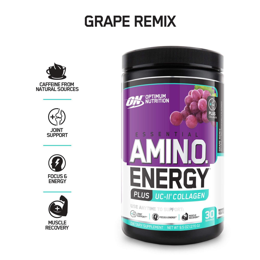 Optimum Nutrition On Amino Energy + Uc-Ii Collagen, Grape Remix, 30 Servings
