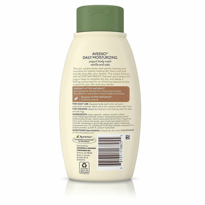Aveeno Active Naturals Daily Moisturizing Yogurt Body Wash Vanilla and Oat, 2 Pack