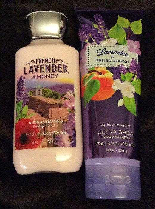 BATH and BODY WORKS SET FRENCH LAVENDER and HONEY BODY LOTION and CREAM 8 OZ EACH NWT