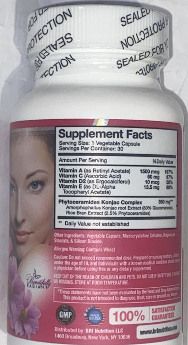 BRI Nutrition Phyto Ceramides Extra Strength Dietary Supplement - 30 Capsules
