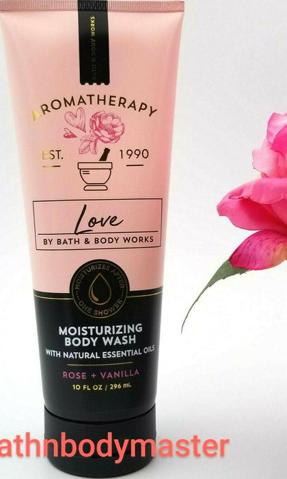 Bath and Body works Aromatherapy LOVE Rose Vanilla Moisturizing WASH shower 10oz