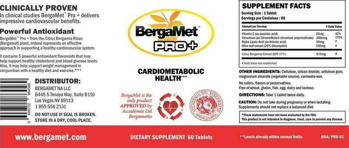BergaMet Pro+ Dietary Supplement, 60 Tablets - Exp. 11/2021