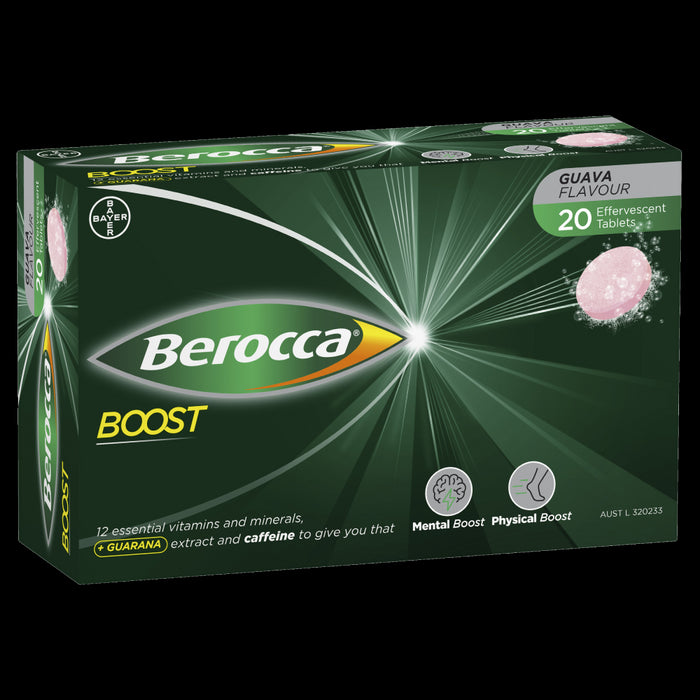 Berocca Boost 20 Effervescent Tablets with Guarana Mental Sharpness Energy