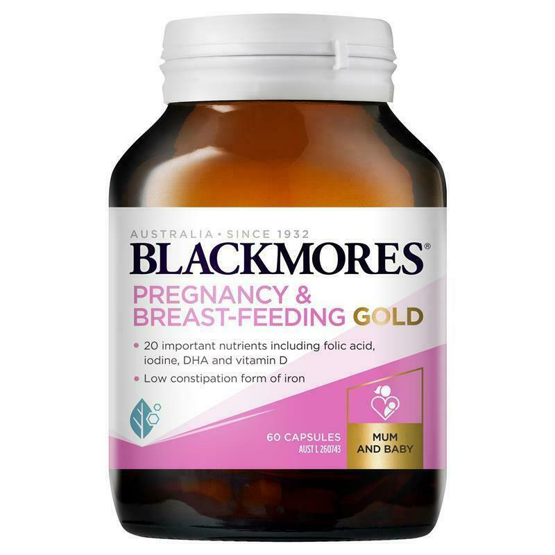 Blackmores Pregnancy and Breastfeeding Gold 60 Capsules Lower Constipation Iron