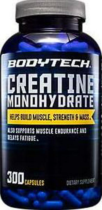 BodyTech 100 Pure Creatine Monohydrate 2250 MG Supports Muscle Strength Mass, 100 Servings (300 Capsules)