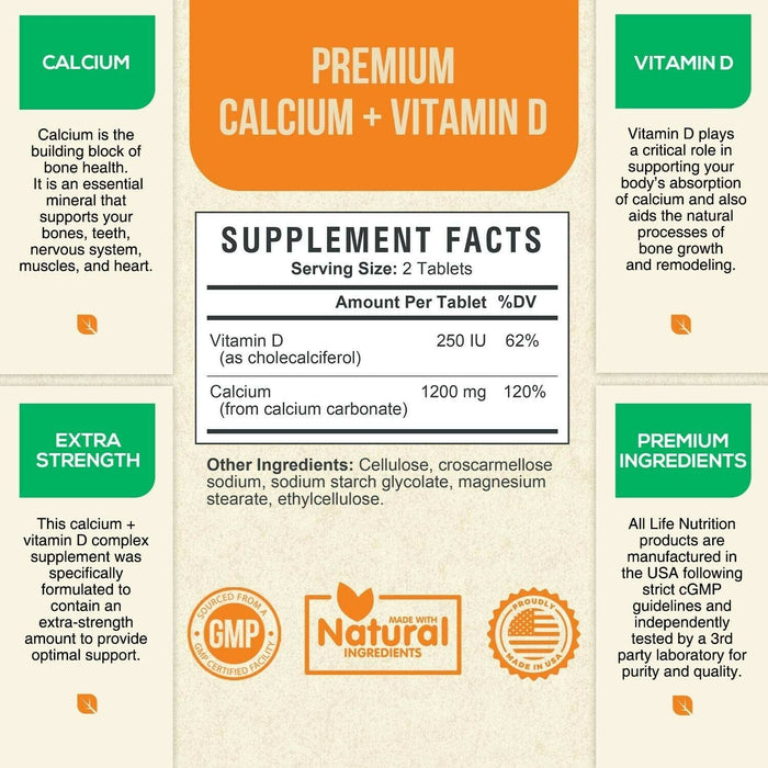 Calcium Supplement 600mg High Potency Calcium Carbonate with Vitamin D