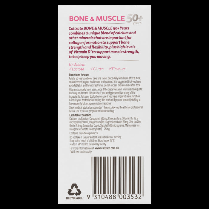 Caltrate Bone and Muscle 50+ Years 100 Tablets Supports Healthy Bones and Muscles