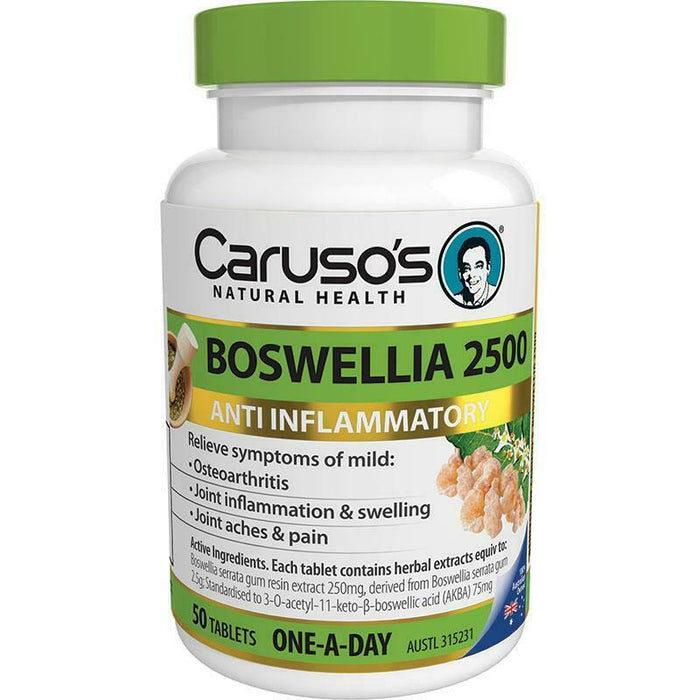 Carusos Natural Health Boswellia 2500 50 Tablets Relieve Joint Inflammation