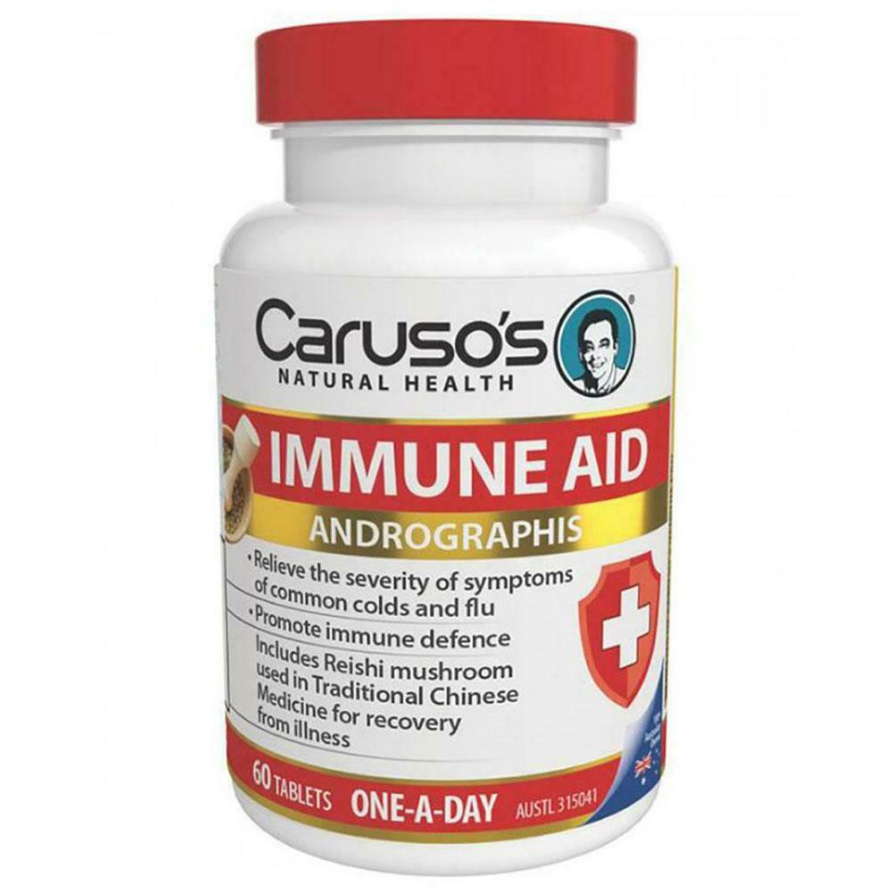Carusos Natural Health Immune Aid 60 Tablets Support Immune System Function