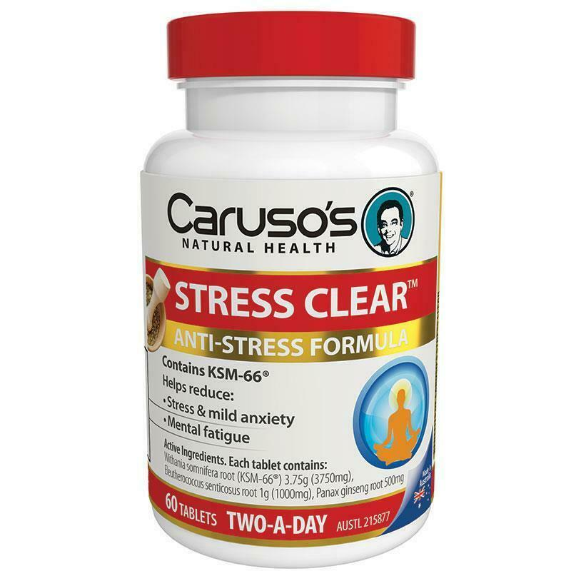Carusos Natural Health Stress Clear 60 Tablets Relieve Mild Anxiety