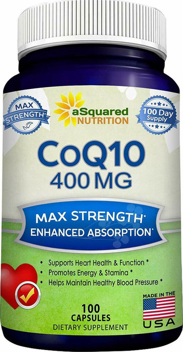 CoQ10 (400mg Max Strength, 100 Veggie Capsules) - High Absorption Coenzyme Q10