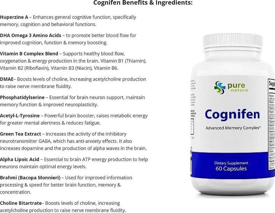 Cognifen Memory Support, Mental Flexibility and Enhanced Life-Long Cognitive Ability for Faster Learning, Increasing Focus, and reducing Stress - DMAE, 60 Capsules (1)