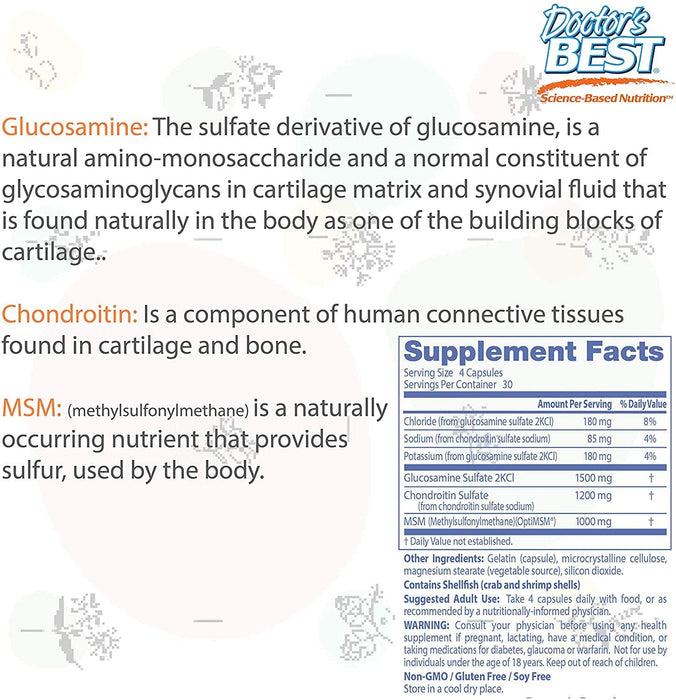 Doctor's Best Glucosamine Chondroitin Msm with OptiMSM Capsules, Supports Healthy Joint Structure, Function and Comfort, Non-GMO, Gluten Free, Soy Free, 120 Count (Pack of 1)