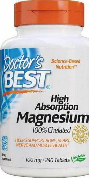 Dr. Best Magnesium Supplements Dietary 100mg 240 Tablets High Absorption Vitamin