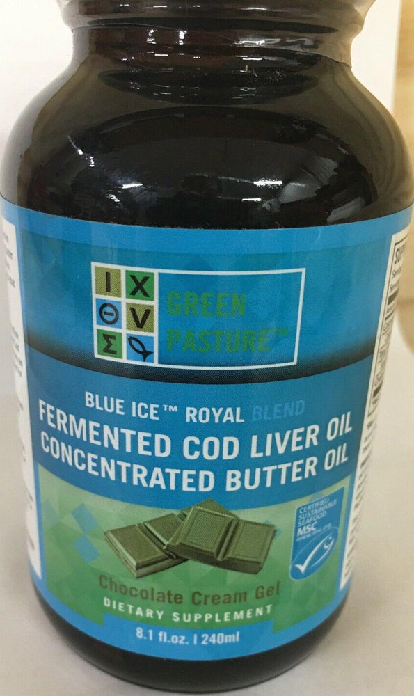 Green Pasture Blue Ice Royal Fermented Cod Liver Oil/Butter Oil, Chocolate, 8oz