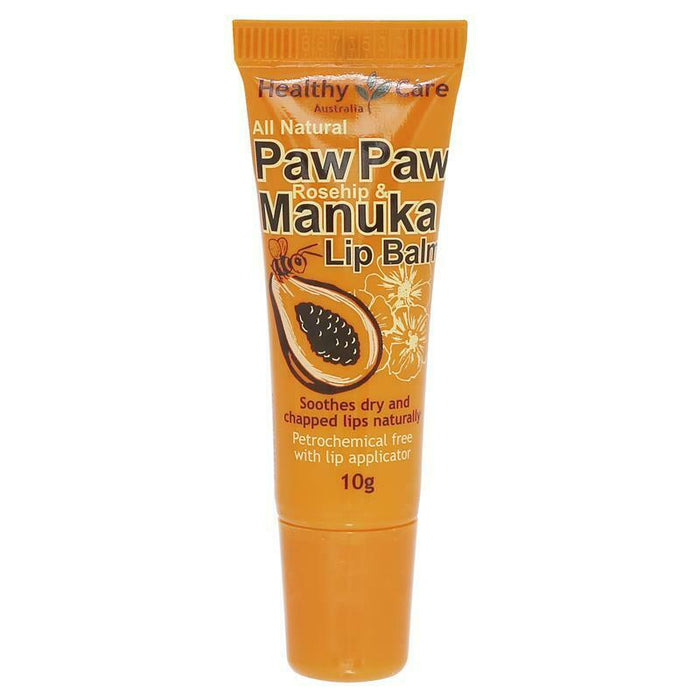 Healthy Care Paw Paw Rosehip and Manuka Lip Balm 10g For Dry Cracks Lips