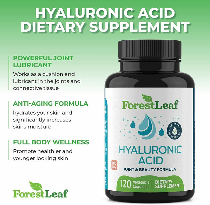 Hyaluronic Acid Dietary Supplement, 100 mg - 120 Vegetable Capsules
