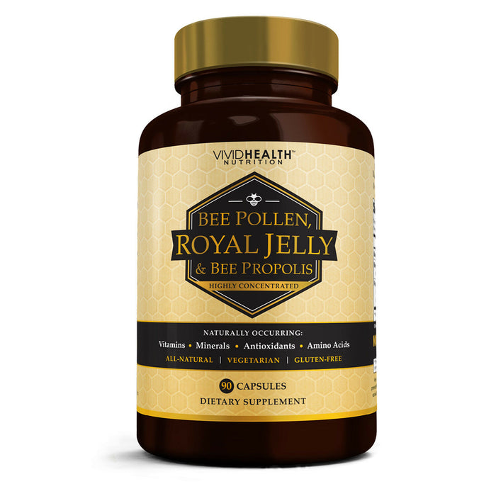 Immune Boosting, Pure ROYAL JELLY BEE POLLEN Supplement w/ BEE PROPOLIS by VHN