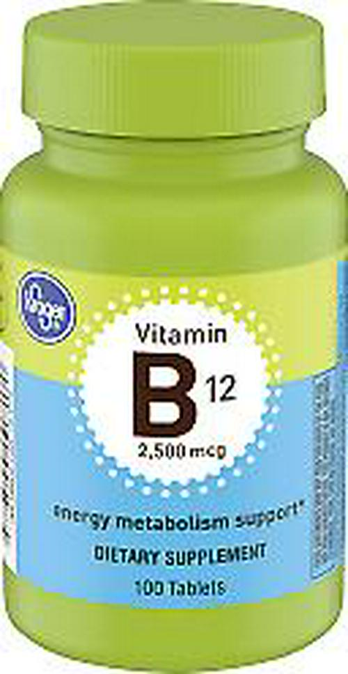 KROGER VITAMIN B12 DIETARY SUPPLEMENT TABLETS 2500MCG 100 COUNT EXP 2021 +