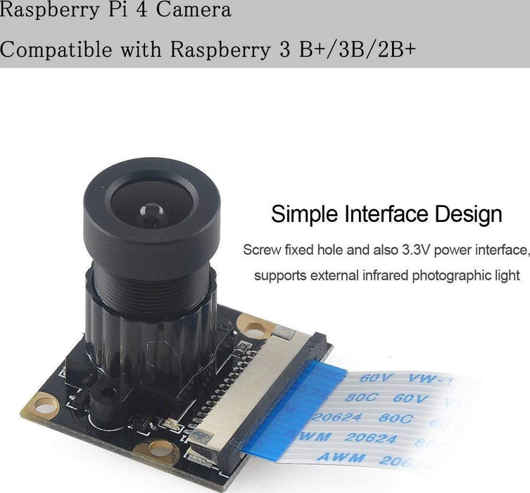 MakerFocus Raspberry Pi 4 Camera Night Vision Camera Adjustable-Focus Module 5MP OV5647 Webcam Video 1080p Compatible with Raspberry 3 B+/3B and 15CM 50CM FFC Adapter Cables and Camera Mount