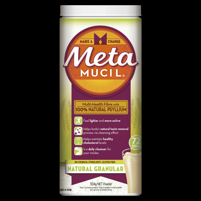 Metamucil Fibre Supplement 504g (72 Doses) - Natural Granular Psyllium Husk