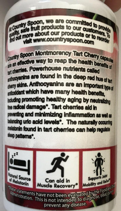Montmorency Tart Cherry Dietary Supplement By Country Spoon, 90 Capsules