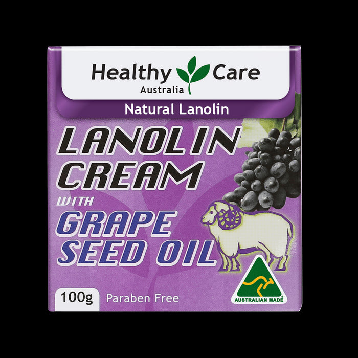 NEW Healthy Care Lanolin Cream With Grape Seed 100g HealthyCare Grapeseed OPC