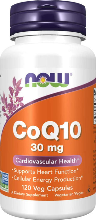 NOW Supplements, CoQ10 30 mg, Pharmaceutical Grade, All-Trans Form produced by Fermentation, 120 Veg Capsules