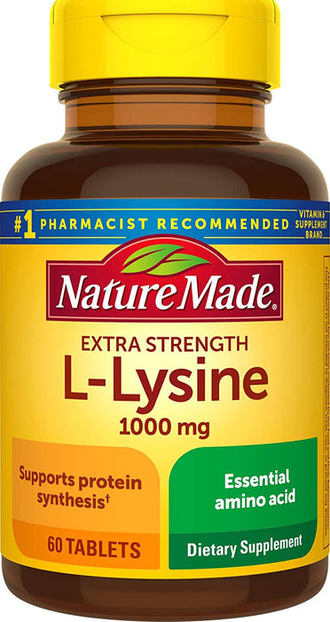 Nature Made Extra Strength L-Lysine 1000 mg Amino Acid, 60 Tablets