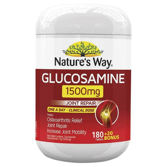 Nature's Way Glucosamine 1500mg 180+20 Bonus Tabs - Joint Repair One A Day
