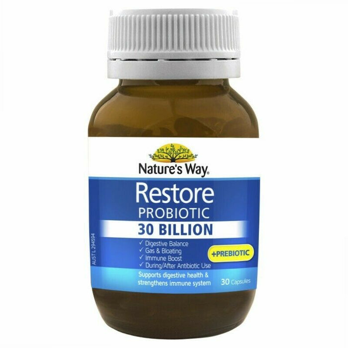 Nature's Way Restore Probiotic 30 Billion 30 Capsules Gas Bloating Gut Health TD