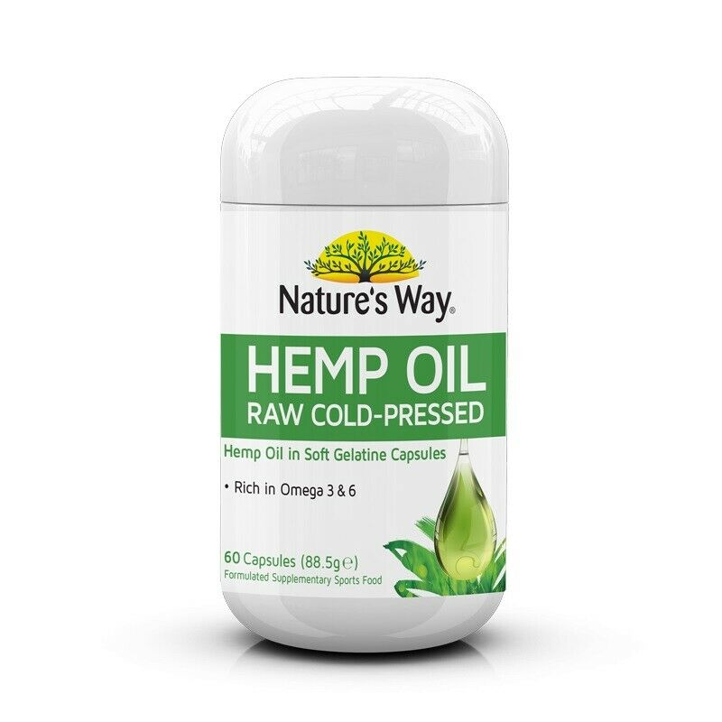 Nature's Way Superfoods Pure Hemp Oil 1000mg Capsules 60s Omega 3 and 6 Sport Food