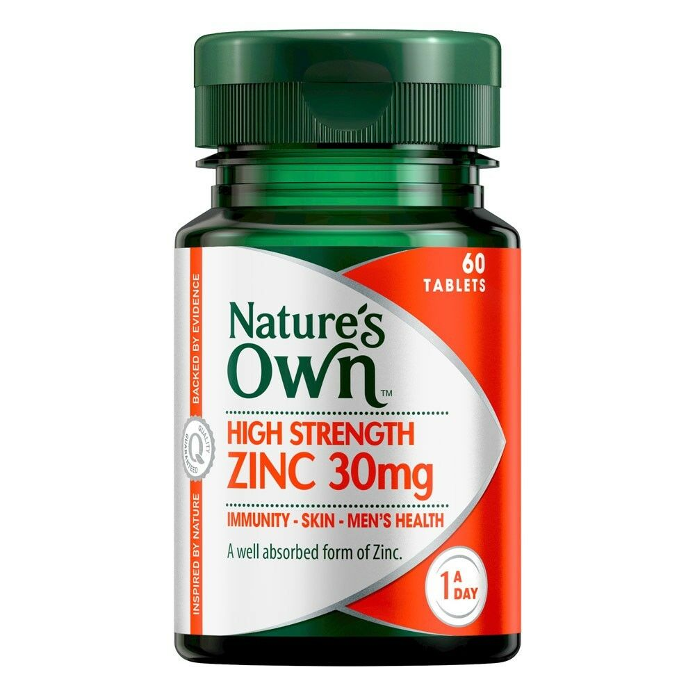 Natures Own High Strength Zinc 30mg Tablets 60