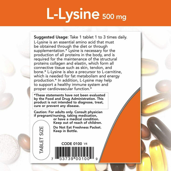 Now Supplements, L-Lysine 500 mg, 100 Tablets