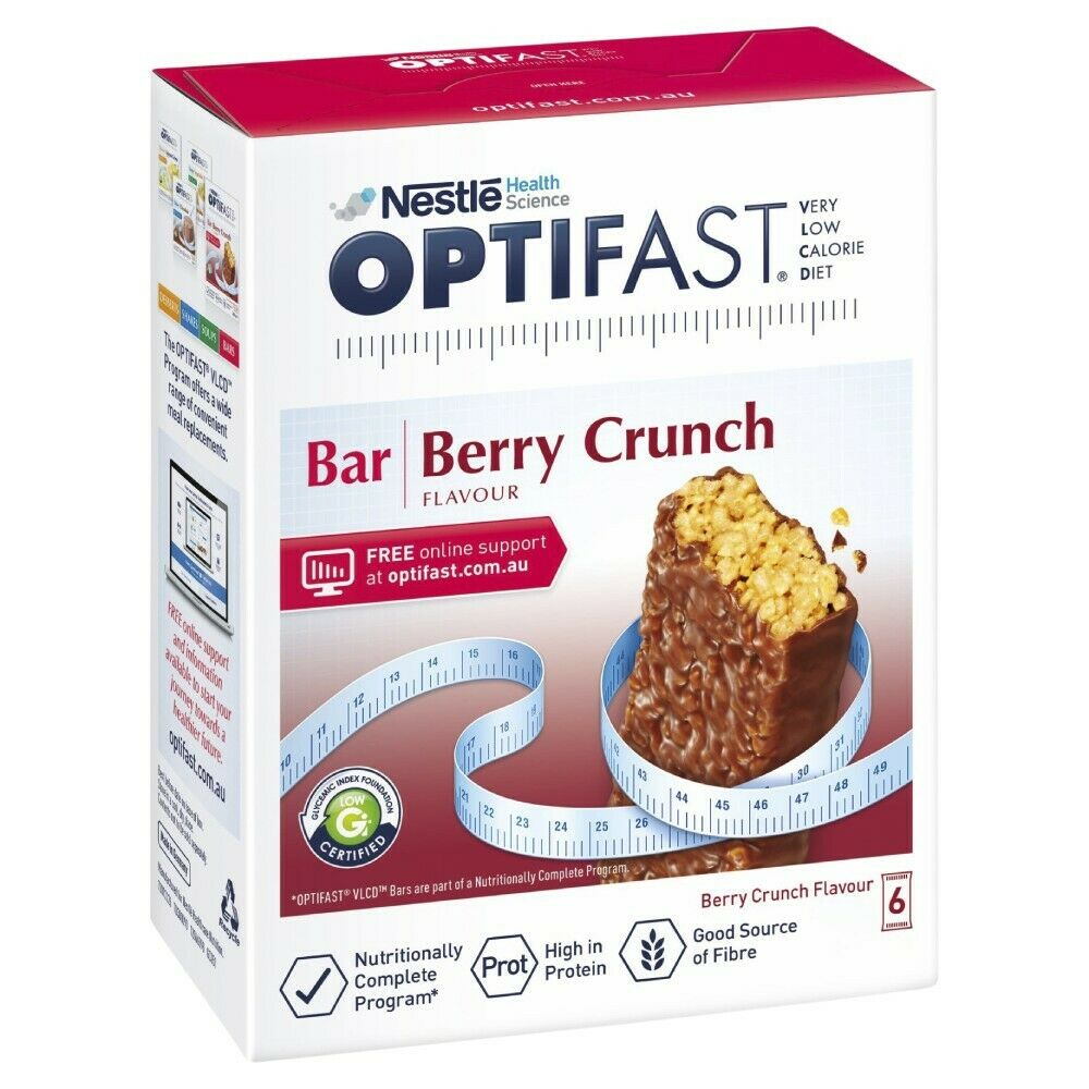 OPTIFAST VLCD 6 x 65g (390g) Berry Crunch Bars Very Low Calorie Diet Weight Loss