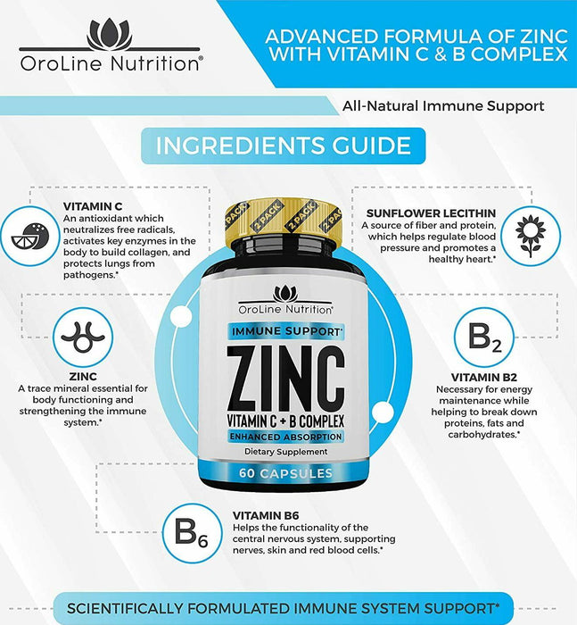Oroline Zinc Supplements for Immune Support - 2 Pack Vitamin C and Zinc 50mg