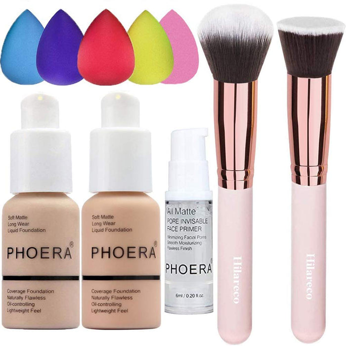 PHOERA Foundation 102 and 103 and Face Primer,Liquid Full Coverage Foundation Set,Foundation Brush Powder Brush,5 Makeup Sponge,30ml PHOERA 24HR Matte Oil Control Concealer (Nude #102 + Warm Peach #103)