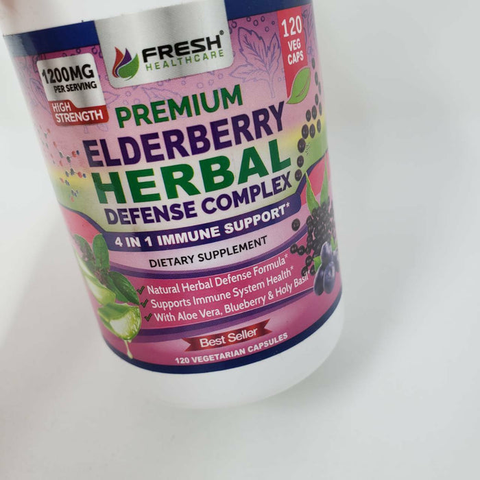 Premium Elderberry Capsules 1200mg Complex - 4 in 1 Immune Support Supplement
