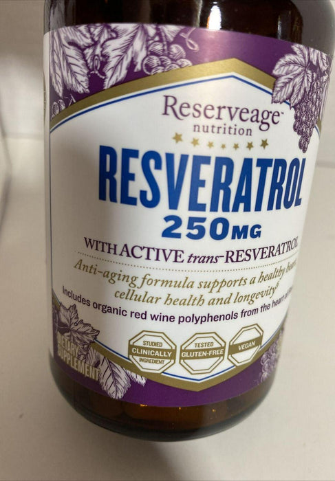 Reserveage, Resveratrol 250 mg, Antioxidant Supplement, Exp-09/2021 Sealed 120