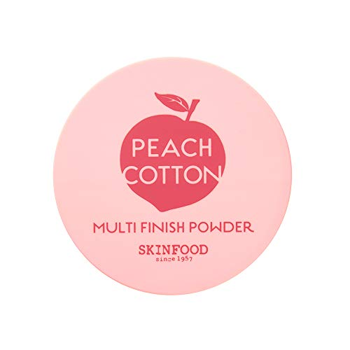 SKINFOOD Peach Cotton Multi Finish Powder 15g - Peach Extract and Calamin Powder Contained Sebum Control Silky Powder for Oily Skin, Sweet Peach Scent with Baby Skin