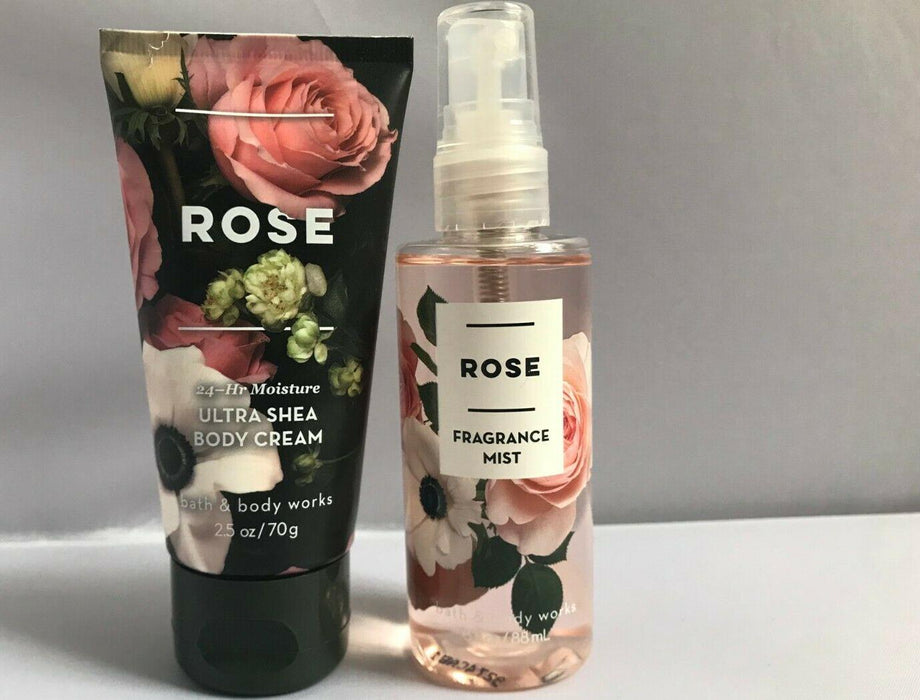 Set  BATH and BODY WORKS  ROSE  Fragrance Mist and Body Cream TRAVEL SIZE
