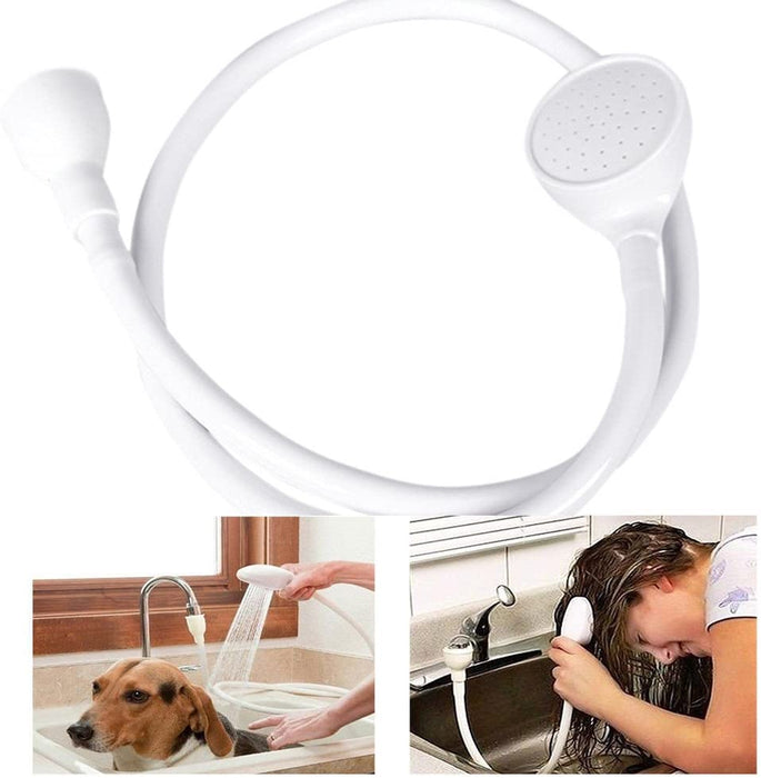 Single Wide Tap Bath Sink Shower Head Spray Hose Push On Mixer Hairdresser Pet (ABS+PVC)