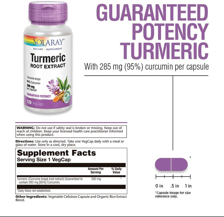 Solaray Turmeric Root Extract 300mg | Joint and Heart Health Support | Guaranteed Potency Extract (120 CT)
