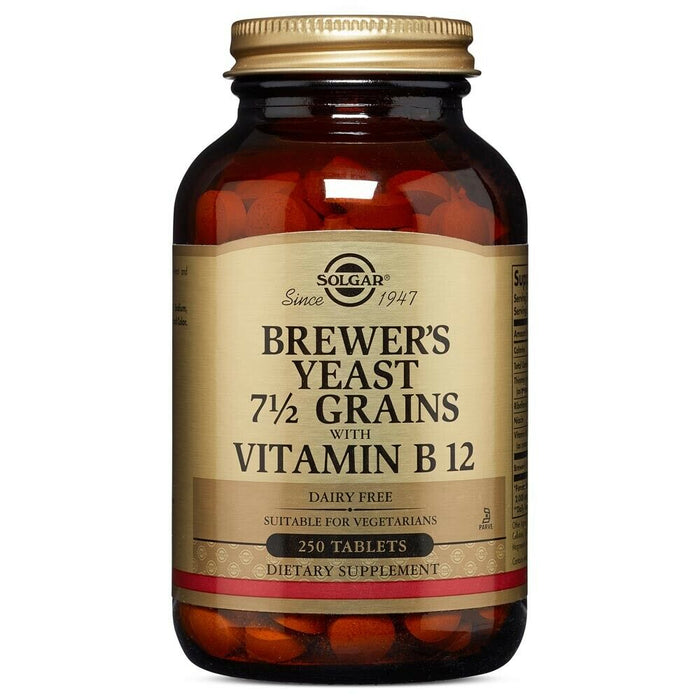 Solgar Brewer's Yeast 7 1/2 Grains with Vitamin B12 250 Tablets FREE Shipping