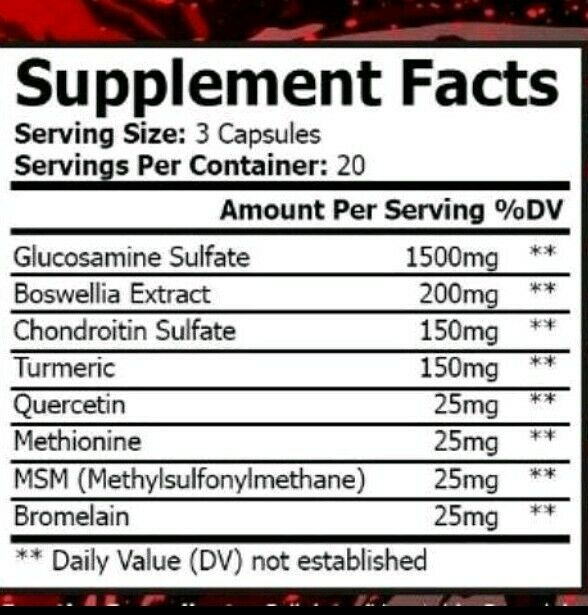 Spartan Performance Supplements Joint Health Glucosamine Chondroitian Fast Shi